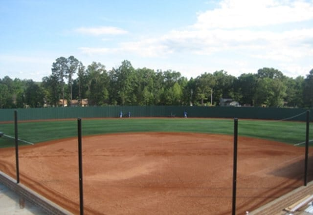Synthetic Turf With Airdrain Drainage At Softball Field In
