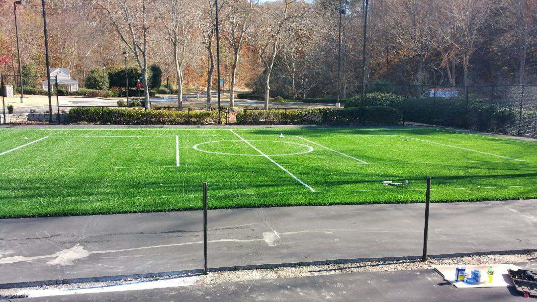 Tennis Court, Tennis court conversion, play area, synthetic turf play area, synthetic turf, artificial turf, turf drainage, air grid, airdrain