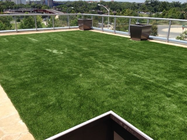 Green Roof With Synthetic Turf Over Airdrain Drainage System