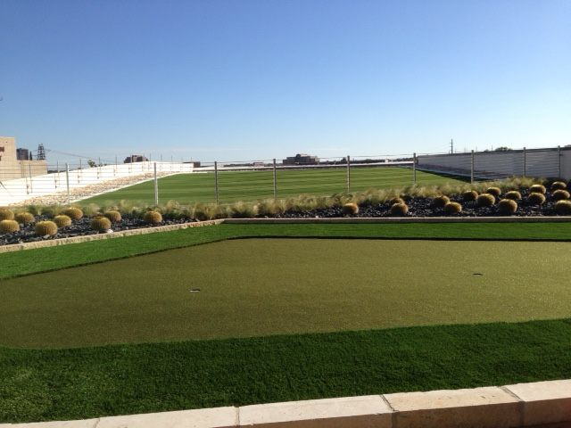 synthetic roof. green roof, play area, synthetic turf play area, synthetic turf, artificial turf, turf drainage, air grid, airdrain, rooftop drainage