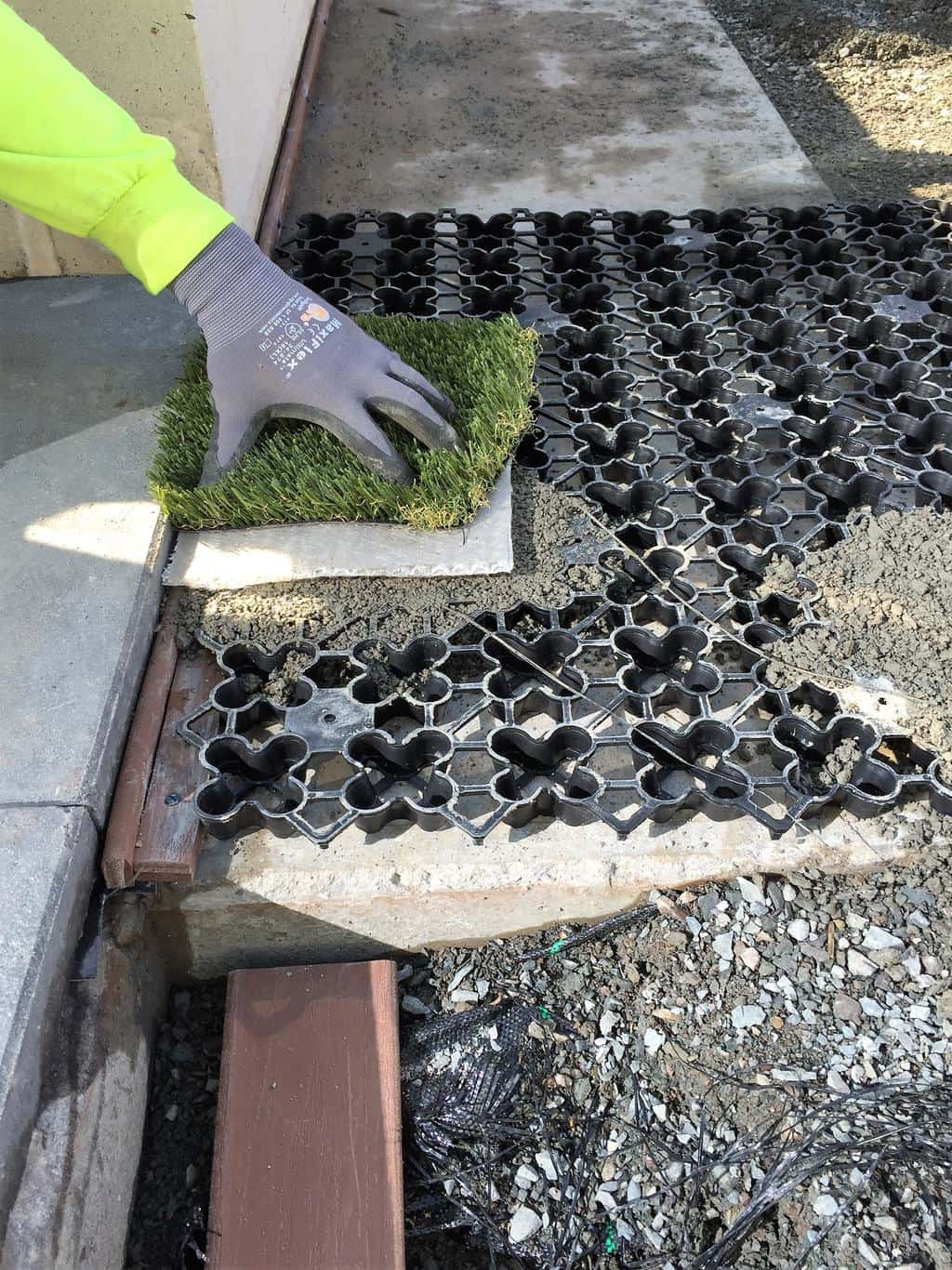 Artificial Grass Airdrain Drainage In The Courtyard
