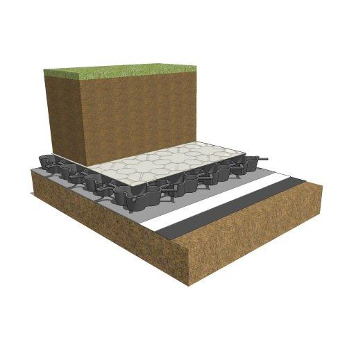 Natural green roof turf, AirDrain, natural turf