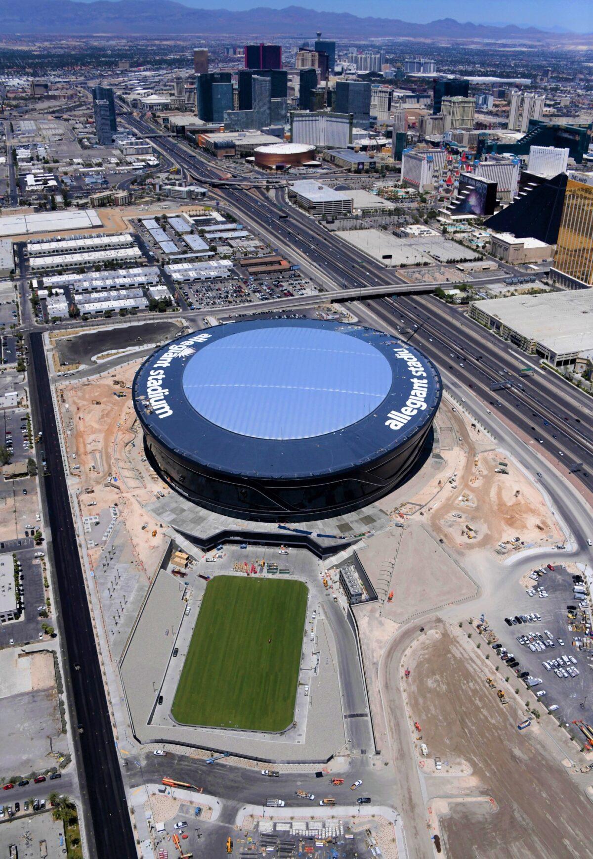 AirDrain Natural Grass Install Allegiant Stadium Las Vegas Raiders